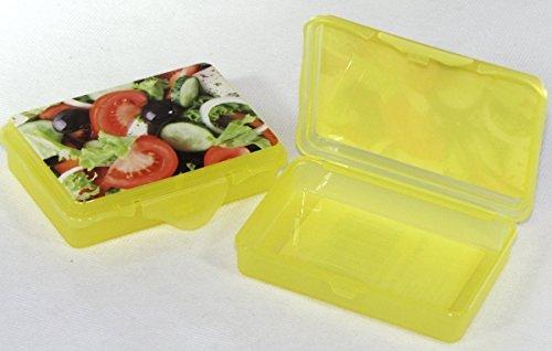 2X Confezione da  pezzi Rosso hoset Funbox Mini 0,1LTR.Olive Box feta Box, ca.10X 7X 2,5cm Giallo insalata
