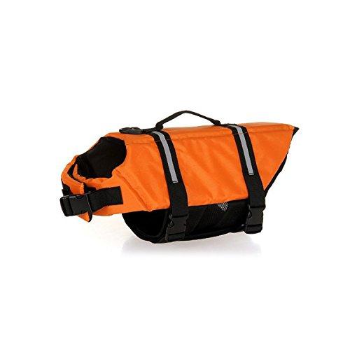 Zubita Hundeschwimmweste Schwimmweste für Hund, Schwimmtraining Dog Flotation Device, L, Gewicht 10-20kg, Orange, Outdoor Sommer Badebekleidung für Hunde/Haustiere
