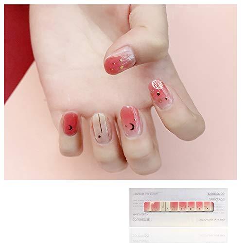 ail Sticker Sticker 3D wasserdichter haltbarer Nagellack Klebestift Applique Sequins Star Gradient Pattern,Pink ()