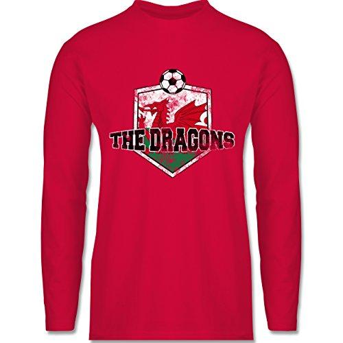 Shirtracer Fußball - Wales- The Dragons Vintage - Herren Langarmshirt Rot