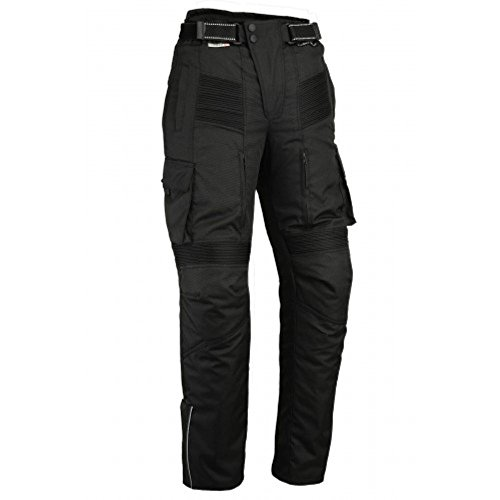 Motorcycle Black Cargo Trousers CE Armoured Waterproof Cordura & Spandex CE-1621-1 (4XL 42