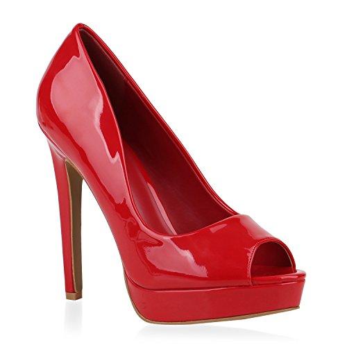 Damen Plateau Pumps Lack Peeptoes High Heels Stiletto Schuhe 153694 Rot 40 Flandell (High Stiletto Heel Heels)