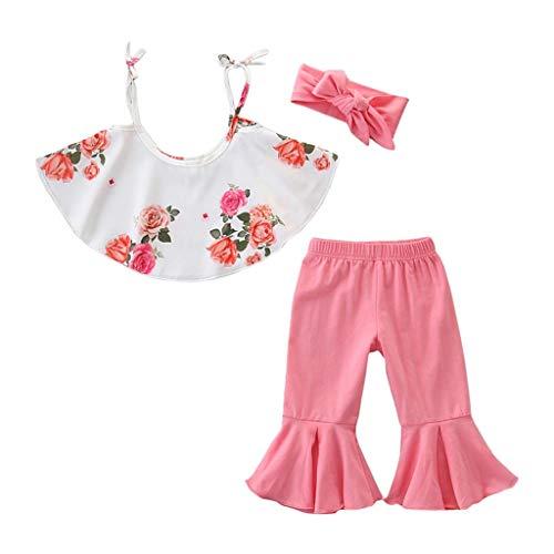 inder Kleinkind Outfits Kleidung niedlichen Blumendruck Top + Pants + Stirnband Set ()