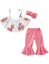 Toddler Kids Baby Girls Outfits Clothes Cute Flower Print Top + Solid Flare Trousers Pants + Headband Set 1T-6T
