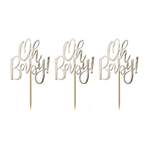 GOLD FOILED OH BABY! CUPCAKE TOPPERS - OH BABY!