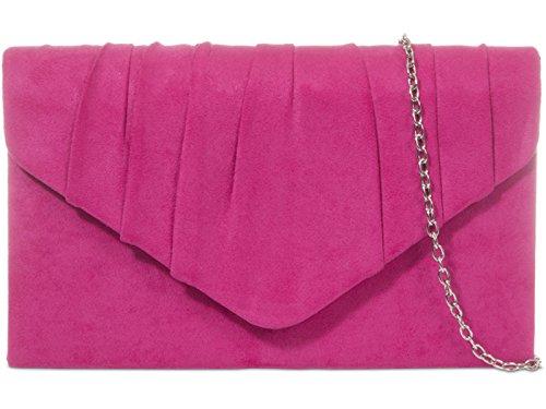 fi9 Damen Clutch Schwarz Schwarz Medium, Rosa - Fuchsia Pink - Größe: Medium