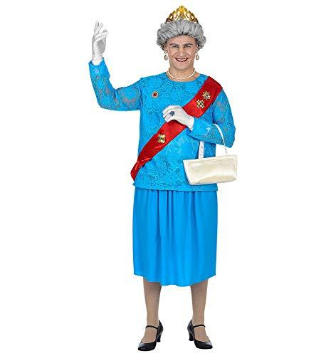 shoperama Lustiges GB Queen Kostüm für Herren englische Königin Elizabeth Lizzy Drag Queen JGA Junggesellenabschied Karneval Großbritannien, Größe:M/L