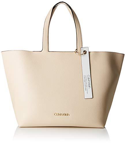 Calvin Klein Damen Neat Ew Shopper Tote, Grau (Light Sand), 15.5x31x43 cm