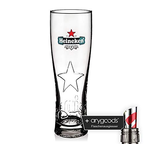 Heineken Crystal Glasses Star Edition stainless 0,35l Relief Gastro Bar + anygoods Bottle pourer