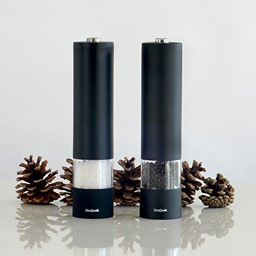 ProCook elektrische Salz- und Pfeffermühle Set, 2-teilig, schwarz