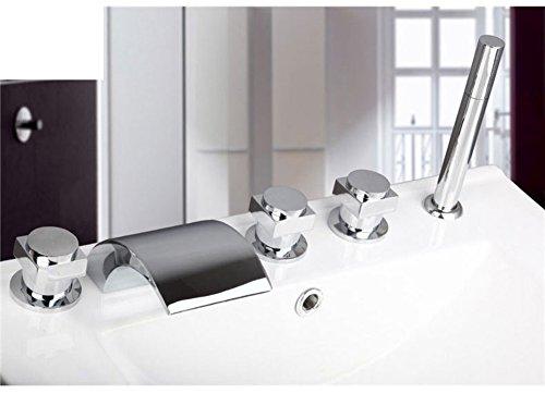 Teile Wasserhahn Badewanne (Messing Teilen warmen und kalten Wasserhähne/Bad Badewanne Wasserhahn Set von fünf/Fällt 5-Loch Armatur heiße und kalte Duschen-E)