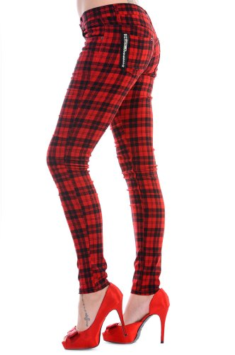 BANNED-CLOTHING-PunkGoth-Tartan-Skinny-Jeans-RED-CHECK-Zips-All-Sizes