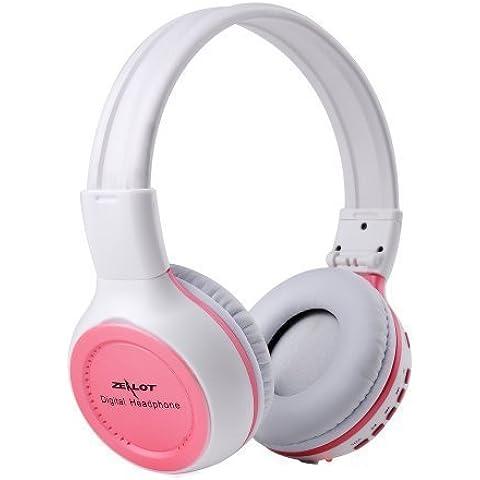 Auriculares Inalambricos de Diadema Plegable, Headset Gaming Estéreo Inalámbrico con Pantalla LCD , Digital SD Reproductor de MP3 y Ranura de TF, Soporte Radio FM,8-10 Horas de