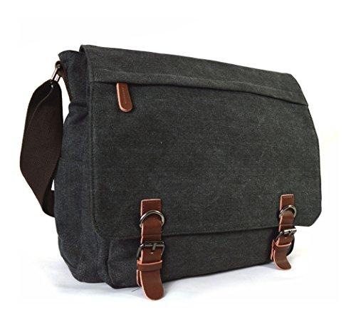 Seconds GFM -  Borsa Messenger classica in tessuto ideale per la scuola, per portare in  ufficio, in viaggio - Stile casual Small Size - Style 1 - Brown (#KEK04)