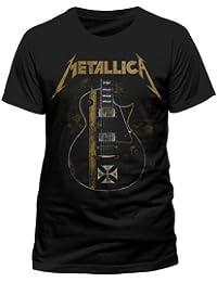 Metallica Hetfield Iron Cross Guitar Camiseta Negro