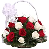 Floralbay Handle Basket Arrangement of 20 Red & White Roses Fresh Flowers
