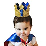 Ziory 1 Pcs Golden Blue Color Kids Baby 1st Birthday Prince Hat Glitter Crown Flower Head Hair Band Party Headwear for Baby Boys and Baby Girls