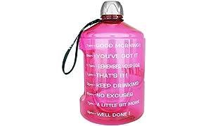 BuildLife 1 Gallon Water Bottles giornaliera idratazione Acqua Tracker-Time segnato ottimizza la Bevanda 3.78l di Acqua per Tutto Il Giorno.Assicuratevi idratandovi (1 Gallon-Pink, 1 Gallon)