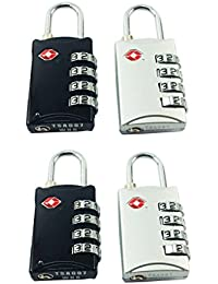 DOCOSS-PACK OF 4-309-TSA Approved Lock 4 Digit For USA International Number Locks For luggage Bag Travelling Password Locks Combination Lock Travel Locks Padlock
