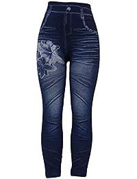 Barfly Fashion New Women's Ladies High Waist Thick Stretchy Denim Printed Denim Look Ripped Skinny Legging Jeggings