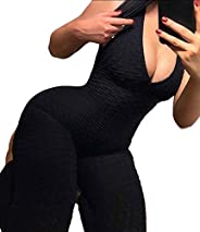 Women High Waist Ruched Butt Lift Yoga Pants Jumpsuit Stretchy Skinny Tummy Control Workout Gym Leggings
