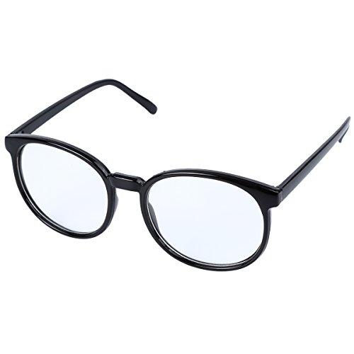 OUTEYE Retro Glasrahmen-Ebenenspiegel Dekobrille Nerdbrille Klassisches Rund Rahmen Glasses Kunststoff (Schwarz-1)