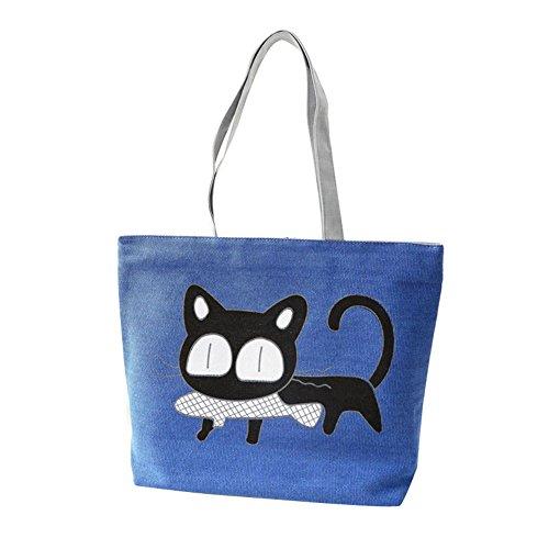 Internet Femmes Chat noir Sac à main de Toile sac à bandoulière Cartoon Modèle 37x9x30CM (Bleu)