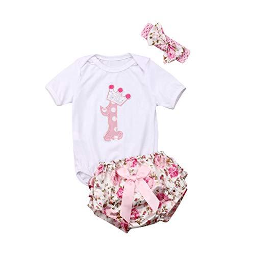 CIPOGL Babykleidung Mädchen Newborn 1. Geburtstag 3 Stück Outfits Strampler Body Tops + Blumen Shorts + Blumen Stirnband Outfit Sets (White, 6-12M)
