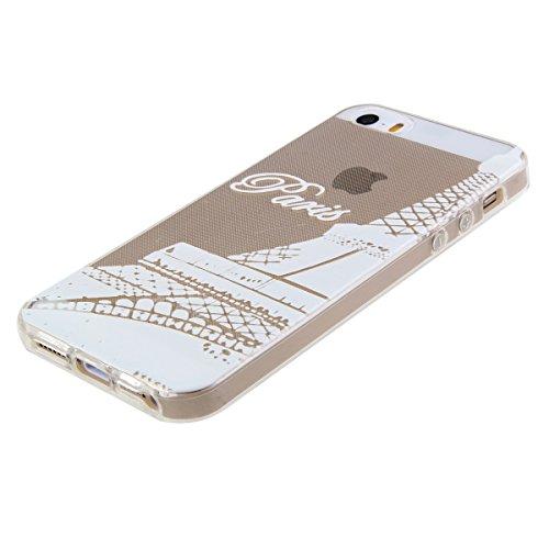 Coque pour iPhone 5C, Etui pour iPhone 5C, ISAKEN Transparente Ultra Mince Souple TPU Silicone Avec Blanc Dessin Etui Housse de Protection Coque Étui Case Cover pour Apple iPhone 5C (Ananas Blanc) Paris Tour