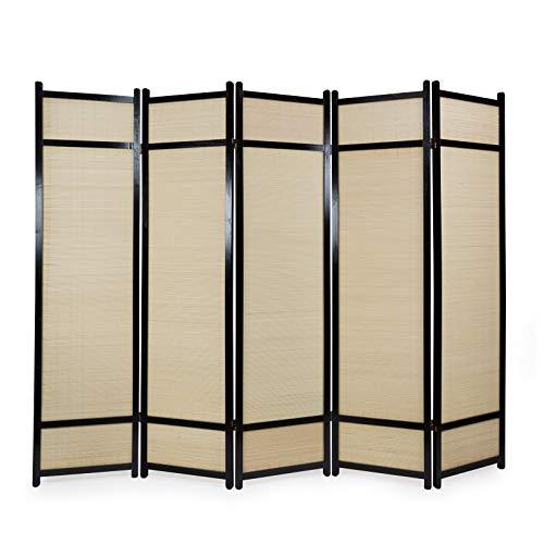 Homestyle4u 387 Paravent 5 teilig Raumteiler 5 fach Holz Schwarz Shoji Bambus Trennwand Spanische Wand Sichtschutz faltbar