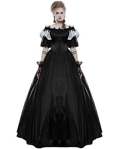 Punk Rave Gothik Hochzeitskleid lang schwarz Steampunk Vintage viktorianisch Abiball Ballkleid -...