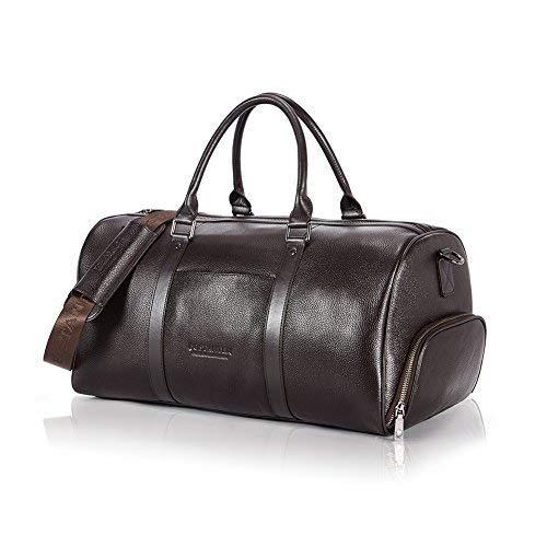 BOSTANTEN Herren/Damen XL Reisetasche echt Ledertasche Weekendertasche Handgepäck Umhängetasche Wochenende Sporttasche Freizeittasche Kaffee