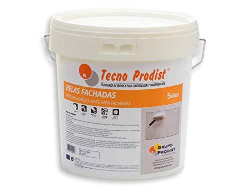 RELAS FACHADAS de Tecno Prodist - Pintura Acrílica Blanco Mate Impermeabilizante para Fachadas - A Rodillo o brocha - Pintura de Calidad - Fácil Aplicación - 5 Kg (BLANCO)