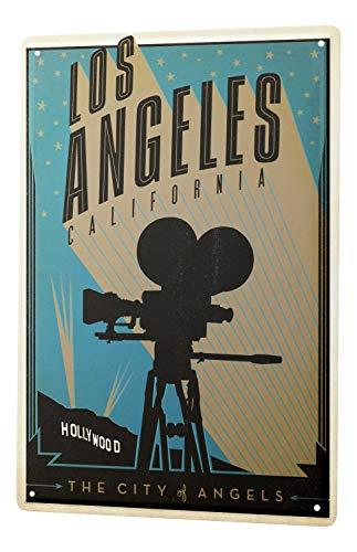 y Wand Deko Los Angeles Kalifornien Hollywood Kamera Metallschild 20X30 cm ()