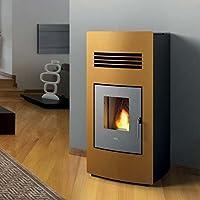 Estufa a PELLAS Eva calor Alice 14,5 kW canalizzata Premium, ámbar Ruvido