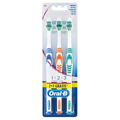 Oral-B 1,2,3 Classic Care Zahnbürste, 35 mittel, 2+1 Pack, 3 Stück