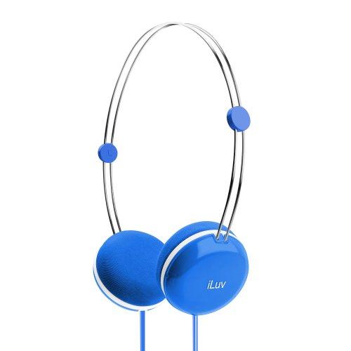 iLuv Sweet Cotton Stereo-Kopfhörer (High Fidelity, mit Speak-EZ-Mikrofon und Fernbedienung) blau -