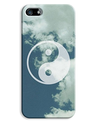 Ying Yang Clouds Blue Hipster Indie iPhone 5 5S Hard Case Cover