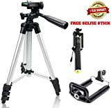 #9: Tripod - 3110 Portable & Foldable Camera (DSLR) - Mobile Tripod With Mobile Clip Holder Bracket , Fully Flexible Mount Cum Tripod , Standwith Three-dimensional Head & Quick Release Plate Only 150 gm (Black)