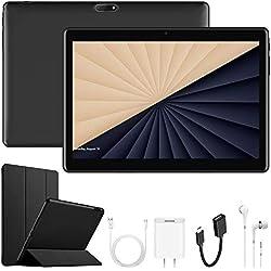 4G Tablette Tactile 10,1 Pouces, 32 Go ROM Android 7.1, OTG 8500mAh Batterie - IPS Écran HD 1280*800 Pixel Dual SIM WiFi FM Radio Tablettes tactiles Pas Cher 4g Portable Débloqué (Noir)