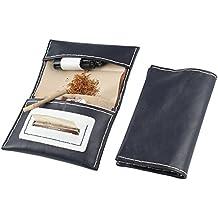 Portatabacco in vera pelle-Handmade in Italy-con porta accendino,porta filtri e porta cartine-blu e bianco
