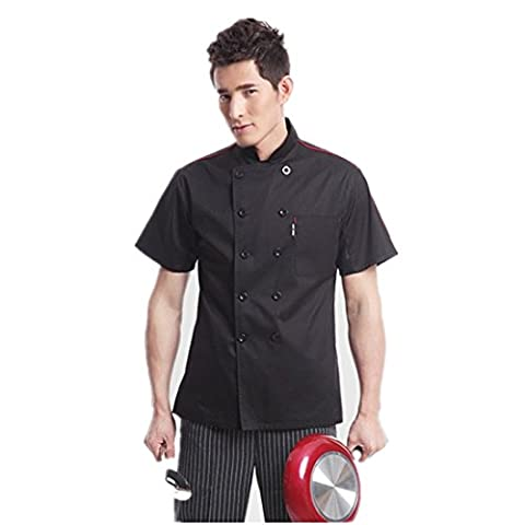 Chef Jackets Waiter Coat Short Sleeves Underarm Mesh Black