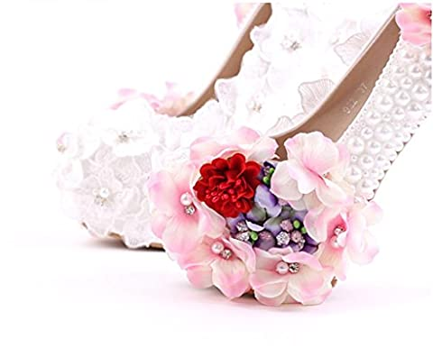 SZXC Ladies Womens perle Fleurs mariée Satin Wedding Bridal Prom Evening Court Low Heel Shoes , 36 schedule , 14cm with