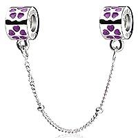 ATHENAIE 925 Sterling Silber Lila Liebe Conection Sicherheit Kette Perlen Fit Alle europäischen Armbänder (Lila)