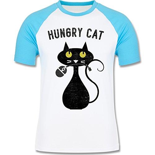 Shirtracer Nerds & Geeks - Hungry Cat - Nerdy Cats - Herren Baseball Shirt Weiß/Türkis