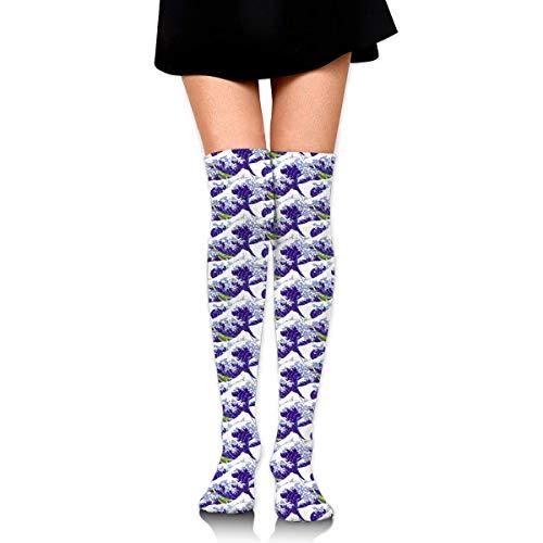 Jxrodekz Knee High Socks The Lesser Waves of Hokusai Purple Long Socks Boot Stocking Compression Socks for Women - Purple Knee High Boots