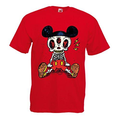 Männer T-Shirt Skelett Einer Maus (Medium Rot Mehrfarben)