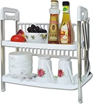 VALAMJI Multi Storage Two Layer Dish For Home Plastic Kitchen Rack
