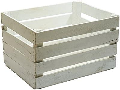 Caja de madera maciza con diseño vintage, color blanco, caja para manazanas o verduras