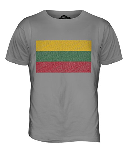CandyMix Lituania Bandiera Scarabocchio T-Shirt da Uomo Maglietta Grigio chiaro